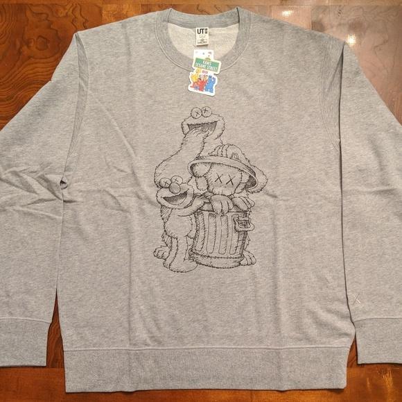 2c021f80a0d Uniqlo Sweaters | Kaws X Sesame Street Elmo Cookie Sweatshirt Gray ...